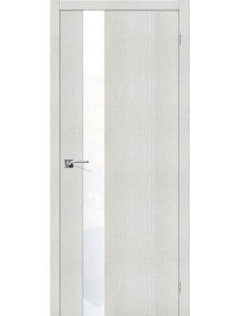 Дверь Порта-51 Бьянко Кросскут со стеклом