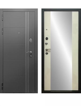 Дверь Дверной Континент Тепло Люкс Графит Зеркало