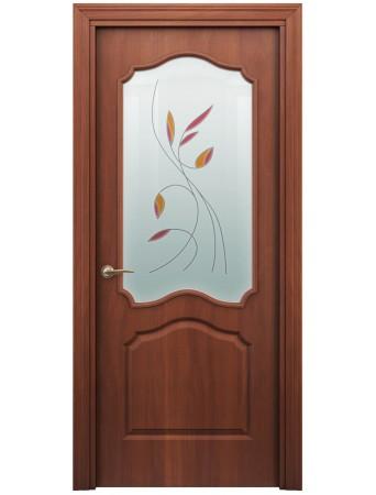 Дверь Гамма ПО Витраж Итальянский орех