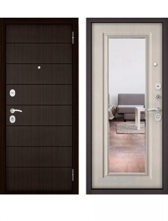 Дверь Бульдорс Эконом Е-135 Ларче шоколад с зеркалом