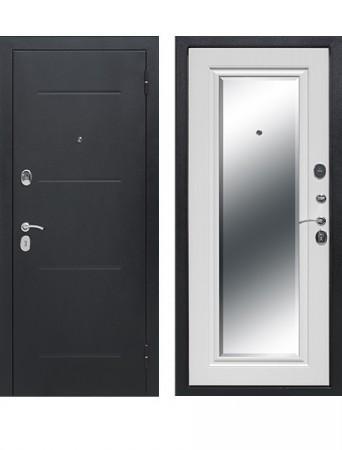 Дверь 7.5 см Гарда Серебро Зеркало Фацет Белый ясень